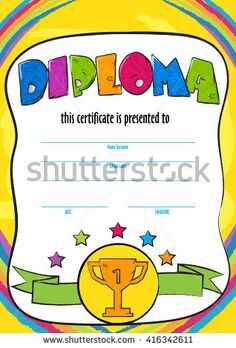 template vector of child diploma or certificate to be awarded. kindergarten…