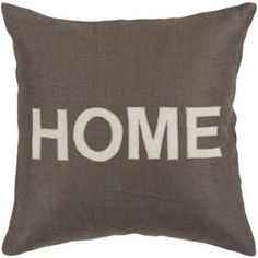 "18"" Charcoal Gray and White ""HOME"" Text Decorative Throw Pillow"