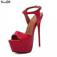 b99587c8e0246 New 2017 Fashion Peep Toe High-heeled Sandals Sexy Open Toe 16CM High Heels  Sandals Party Dress Women Shoes