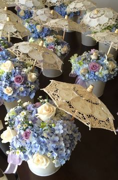 Centerpiece flowers with umbrella