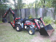 Garden tractor, upgrades, loaders, and backhoes CAD Plans by P. Engineering, and sample pictures and videos of those. Small Tractors, Compact Tractors, Tractor Room, John Deere Garden Tractors, Garden Tractor Attachments, Homemade Tractor, Tractor Accessories, Tractor Loader, Tractor Implements