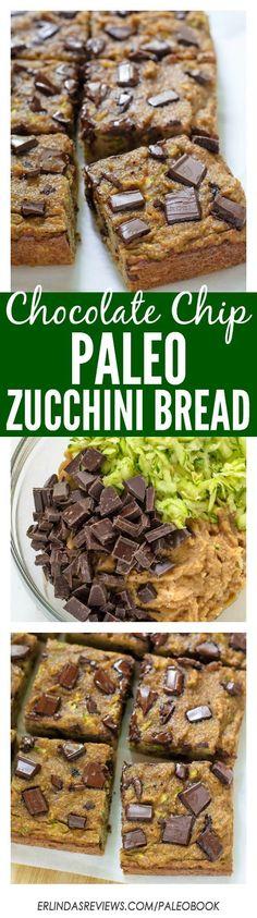 Chocolate Chip Paleo Zucchini Bread. Grain free, dairy free, and naturally sweetened! paleo grainf