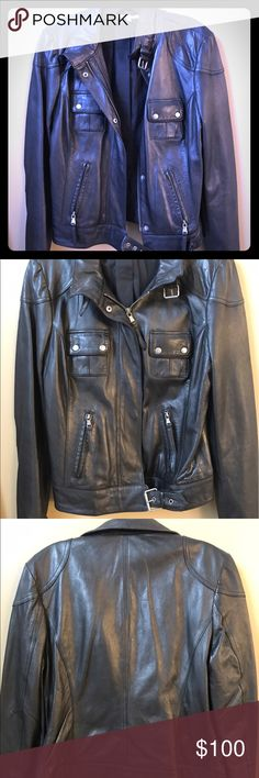 Gianni Bini Lambskin Leather Moto Jacket Purchased several years ago, worn once, 100% lambskin leather Gianni Bini jacket. Size M. It is a little big for me or I would not be selling it. Very soft and warm leather jacket. Gianni Bini Jackets & Coats
