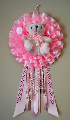 """This charming """"It's a Girl"""" wreath is perfect to hang on the door at a baby shower, hospital room, and nursery, so that everyone knows about your bundle of joy! This is a great gift for a baby shower or newborn, and will definitely make mom feel special. Baby Door Wreaths, Mesh Wreaths, Baby Hospital Gifts, Bebe Shower, Cumple Toy Story, Baby Door Hangers, Unique Baby Shower Favors, Baby Girl Announcement, Diaper Wreath"""