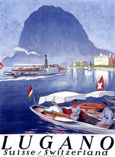 Vintage Travel Poster - Lugano - Switzerland by Otto-Baumberger Poster Retro, Poster Ads, Vintage Travel Posters, Lugano, Illustrations Vintage, Illustrations Posters, Vintage Advertisements, Vintage Ads, Tourism Poster