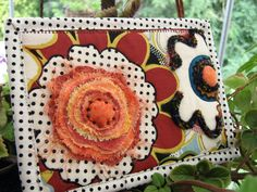 Handmade Art Quilt Orange Flower Quilt by UniquelyJenCreations
