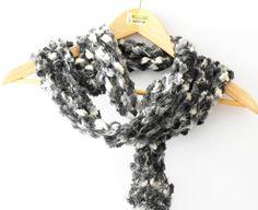 Sciarpe a maglia - sciarpa moda bianco nero grigio, sciarpa lunga - un prodotto unico di cosediisa su DaWanda