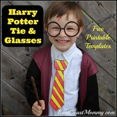 East Coast Mommy: Harry Potter Glasses and Ties with free printable templates