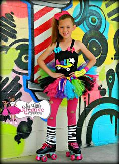 Rock and Roller Skate - Retro 80s Baby Neon Rainbow Shirt and Tutu Skirt Birthday Outfit Pop Star Rock Star ) 12mos-5T