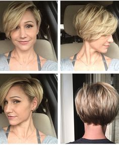 Short hairstyles for fine hair are one of the hairstyles that women often think of, but they don't dare to try them. There are many short and pleasant hairstyles for fine hair. Fine hair is o… Short Bob Cuts, Short Layered Haircuts, Short Bobs, Short Layers, Short Wavy, Pixie Cuts, Short Fine Hair Cuts, Short Hair Cuts For Women Edgy, Long Pixie Haircuts