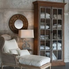 Beautiful French chaise and cabinet!