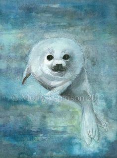 Arctic Swimmer  Harp Seal  Fine Art Archival by MollyHarrisonArt, $18.00