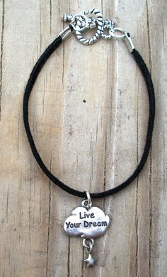 black suede rope, live your dream charm with toggle clasp