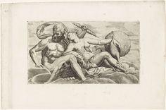 Anonymous | Jupiter en Juno, Anonymous, Niccolo Nelli, 1540 - 1570 | Jupiter met adelaar en bliksemschicht en Juno met pauwen liggen samen op wolken.