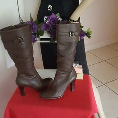"Real Leather Nine West Knee  High Brown Boots Excelente pair of Nine West tall brown leather high heeled boots. Side zipper up knee high boots. Size 8 1/2"" and heels are 3 1/2"" They have a rubber sole to prevent slipping. Wear only (1) time inside my apartment for an activity,  but heels are too high for me. Looks great with jeans, dress, skirt, legging, etc. Take a look carefully on each pictures which talk by themselves. They are gourges as new.  Happy Shopping  ! ! ! Nine West Other"