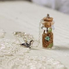 Tiny Woodland Terrarium Robins Nest Necklace