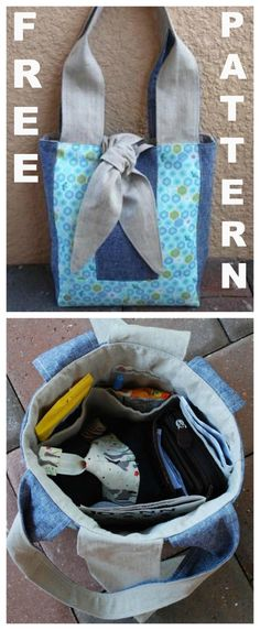 FREE downloadable pdf sewing pattern for The Tie Block Tote Bag.