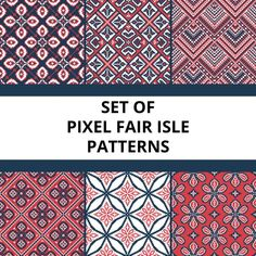 Pixel pattern with floral elements Free Vector