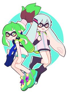 Squid Miku and Gumi | hachuu (@ochuuhi) | Twitter wait wait. . . Is this a splatoon crossover? That's awesome!