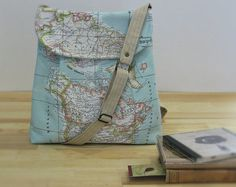 World Map Print Small Tote Bag by Leyyabags