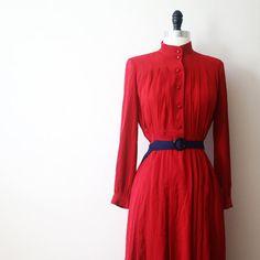 Vintage Dress Japanese 70s Cherry Tomato Red by StandardVintage, $46.00