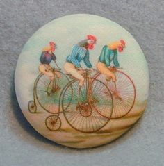 Rooster Riding Bikes Hand Printed Fabric Covered Button 1 and inch Diameter Button Art, Button Crafts, Button Badge, Cool Buttons, Vintage Buttons, Fabric Covered Button, Covered Buttons, Hand Printed Fabric, Printing On Fabric