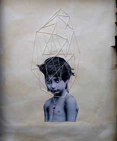 Collage et broderie par Jose Romussi Jose Romussi, Collages, Art Du Collage, Art Fil, Graffiti, Paper Embroidery, Geometric Embroidery, Art Textile, Thread Art