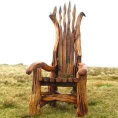 Story Tellers Chair by Freerange Designs on Folksy This throne/storytelling chair is an exceptional piece of furniture, uniquely handcrafted with reclaimed materials: stunning driftwood…More Driftwood Furniture, Driftwood Art, Wooden Furniture, Cabin Furniture, Western Furniture, Furniture Design, Outdoor Furniture, Love Chair, Rocking Chair
