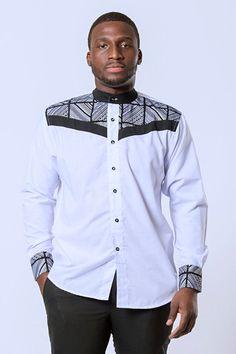 African ucha men long sleeve shirt - white in 2019 African Shirts For Men, African Attire For Men, African Tops, African Clothing For Men, African Wear, African Style, African Outfits, African Women, African Dress