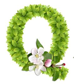 Abecedario con Hojas Verdes y Flores Blancas. Alphabet with Green Leaves and White Flowers. Cute Alphabet, Alphabet Art, Monogram Alphabet, Alphabet And Numbers, Flower Letters, Flower Names, Baby Shower Invitaciones, Paper Quilling Designs, Doodle Icon