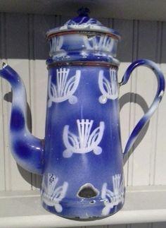 Vintage French enamel coffee pot wedding