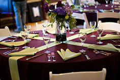 Crossing chair sashes on a table in place of a runner is a refreshing idea.  #wedding #weddingdecor #denverwedding