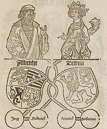 Zdenka/Sidonie Česká, dcera českého krále Jiřího z Poděbrad a Kunštátu, manželka Albrechta III. Saského, vévody saského