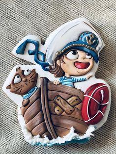 El Niño marinero y el gato Sugar Cookie Icing, Royal Icing Cookies, Sugar Cookies, Gingerbread Icing, Patisserie Design, Jungle Cake, Nautical Cake, Pretty Birthday Cakes, Fun Cookies
