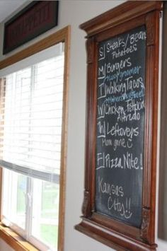 Use an old mirror and some chalkboard paint to make a homemade chalkboard. by marissa
