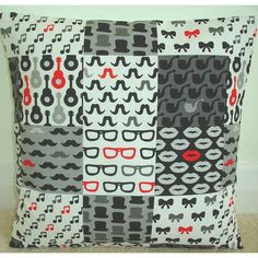 An 18 (45cm) Pillow Cover  ~ ★ ~ R E A D Y - T O - S H I P ~ ★ ~  His & Hers Black White Red & Grey Images of Lips, Moustaches, Pipes, Glasses, Hats, Musical Notes and Bows  Machine stitched for strength. Handmade to a very high standard. Machine Washable.  The pattern placement may vary slightly but will always be similar that shown in the pictures.  The back of the pillow cover is in a plain black cotton fabric with an envelope opening for easy insertion and removal of the insert pa...