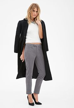 Slim Notched-Hem Trousers   FOREVER21 - 2000080762