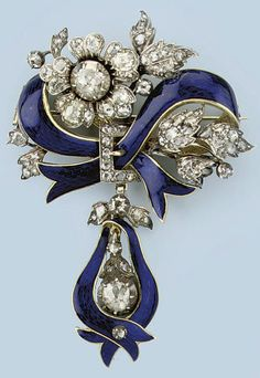 AN ANTIQUE ENAMEL AND DIAMOND BROOCH. Designed as a blue enamelled ribbon with rose-cut diamond set clasp and flowers, supporting a similarly set rose-cut diamond set drop, mid 19th Century, fitted case by Catchpole & Williams, London. #Victorian #antique #brooch