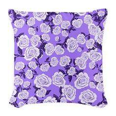Fancy Floral Rose Pattern Burlap Throw Pillow > Throw Pillows > Custom Design Store