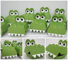 .    Kreativ Blog by Claudi: Krokodile ... Alligator Party, Alligator Birthday, Dinosaur Birthday, Cardboard Box Crafts, Paper Crafts, Crocodile Party, Hamburger Box, Diy And Crafts, Crafts For Kids