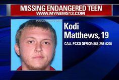 Kodi Matthews, 19, was last seen Jan. 1 near Fish Hatchery Road in Lakeland. (PHOTO/Polk County Sheriff's Office)