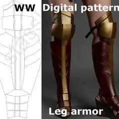 Wonder Woman Pattern Leg Shin Knee Greaves Boots Costume