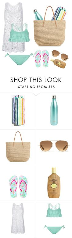 """""""Beach//Day #2"""" by smaryb ❤ liked on Polyvore featuring Madewell, S'well, Stella & Dot, Lilly Pulitzer, Sun Bum and New Look"""