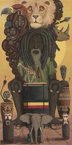 """Heartbeat of the Nyabinghi"" ~ Paul Lewin (San Francisco based artist) Lion Rasta, Rasta Art, Reggae Art, Reggae Style, Reggae Music, African American Art, African Art, Rastafari Art, Caribbean Art"