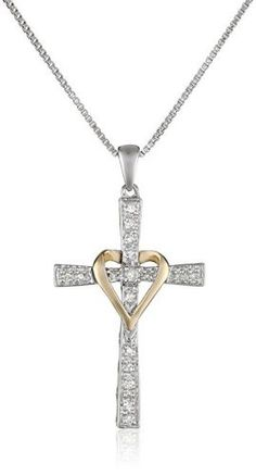 Sterling Silver and 14k Yellow Gold Diamond Cross and Heart Pendant Necklace