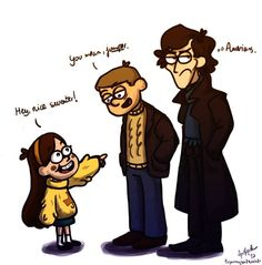 Mabel from Gravity Falls with Sherlock and Watson... sweater talking