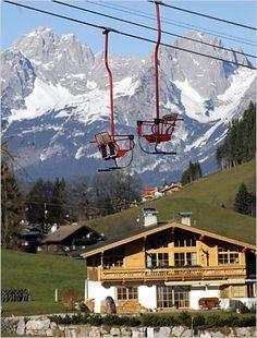 Kitzbuhel, Austria. Yes, single ski lifts. Like desk chairs.