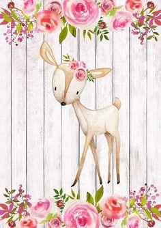 Woodland Animal Art Set 4 Printables F loral Animal Nursery Nursery Prints, Nursery Wall Art, Girl Nursery, Nursery Decor, Bedroom Art, Woodland Animal Nursery, Woodland Animals, Illustrations, Illustration Art