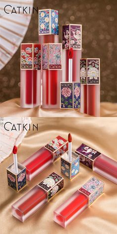 CATKIN Eternal Love Vivid Melody Lip Gloss Cinnabar Red Addictive Love Smooth moisturizing best care for your lip Diy Lipstick, Lipstick For Fair Skin, Pink Lipsticks, Lipstick Colors, Perfume Packaging, Cosmetic Packaging, Cool Makeup Looks, Cute Makeup, Gloss Labial
