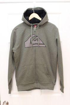 NWOT QUIKSILVER Mens Size M Dixon Logo Solid Hoodie Sweatshirt Full Zip Sherpa #Quiksilver #Hoodie